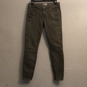 Paige fatigue green skinny moto jeans size 28